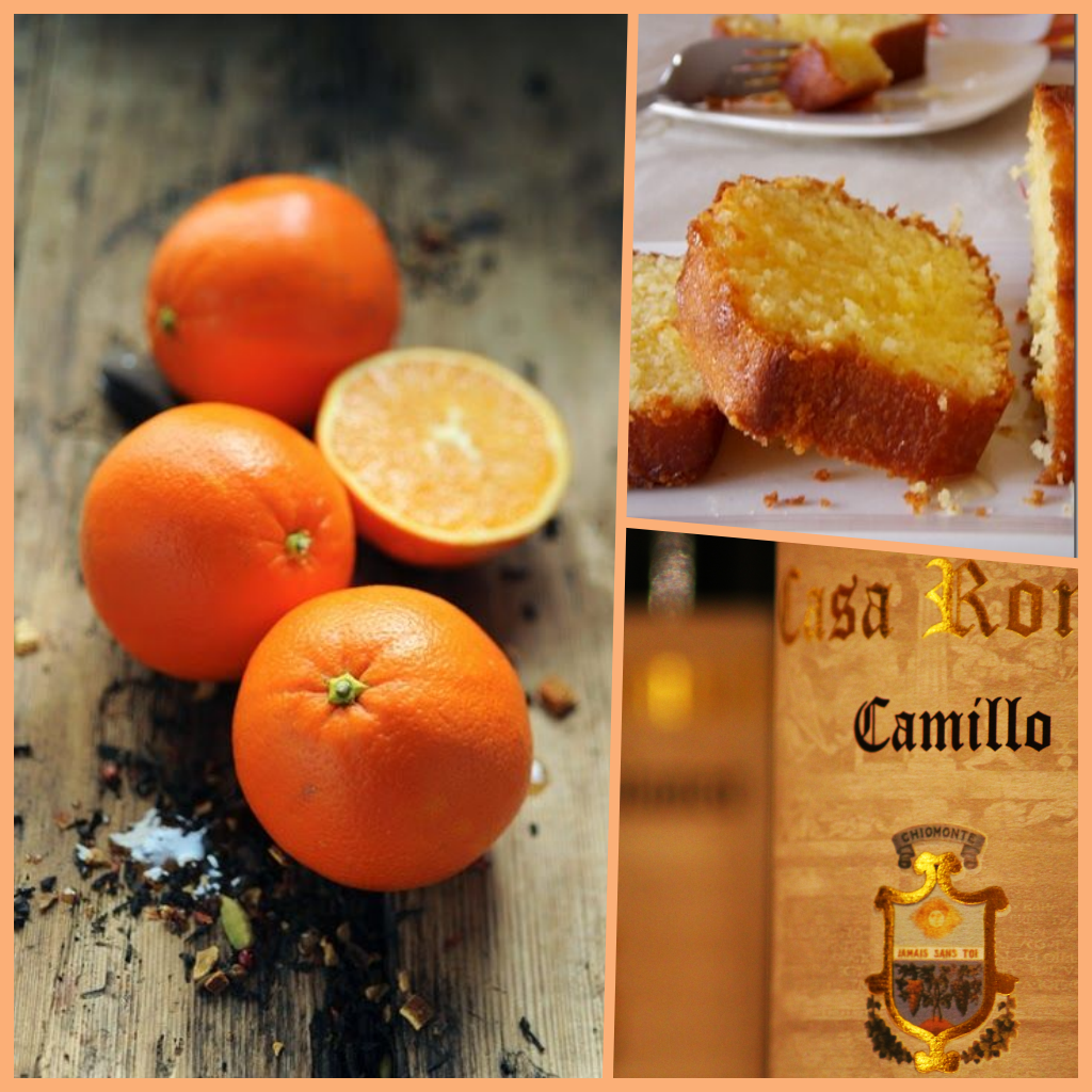 "Orange cake  with ""camillo"" red wine  DOC Valsusa of Casa Ronsil"