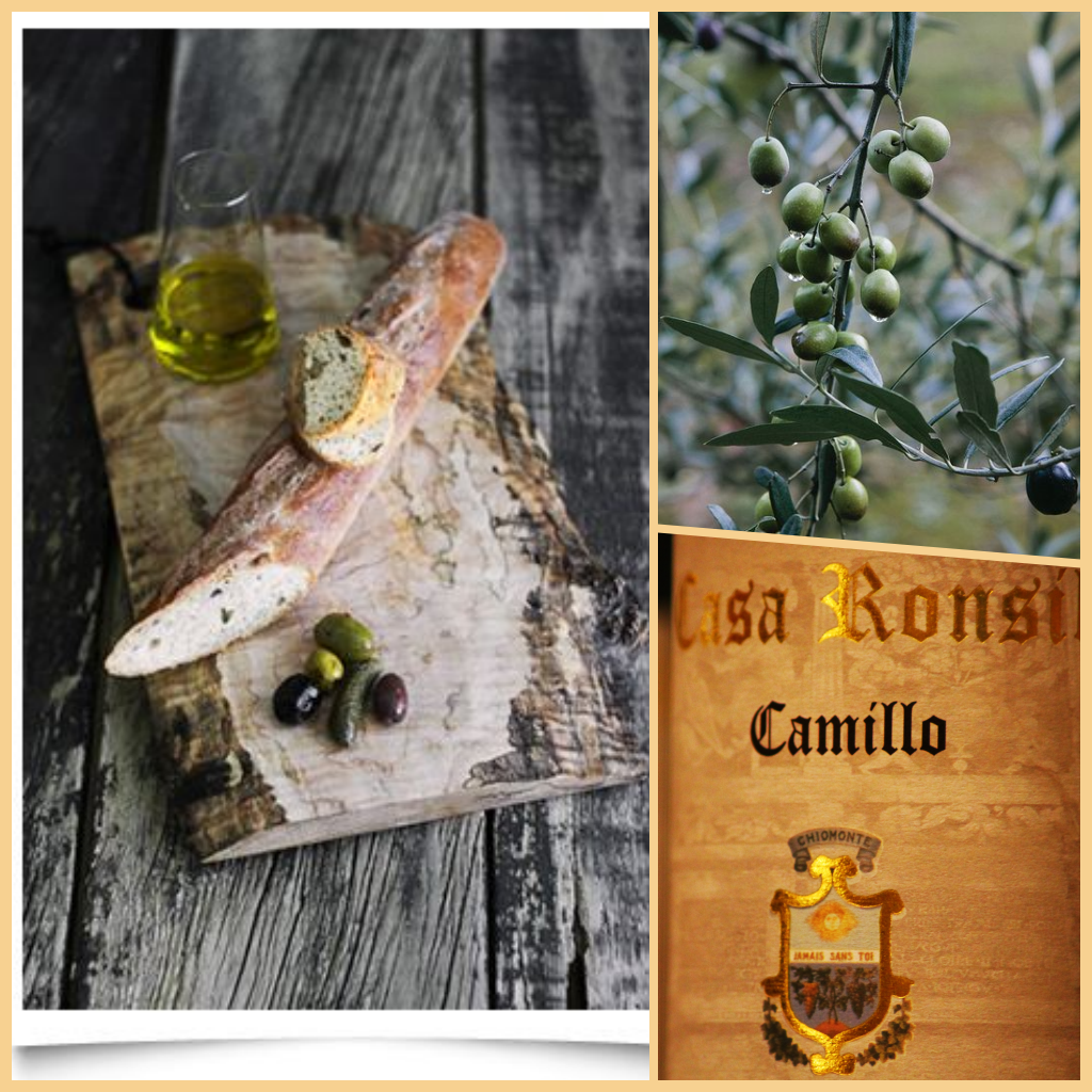 "Bread with olive oil and ""camillo"" wine."
